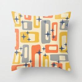 Retro Mid Century Modern Abstract Pattern 278 Yellow Orange Gray Throw Pillow