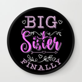 Big Sister Finally Pregnancy Announcement Gift Wall Clock