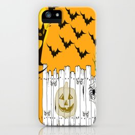 Black Cat on a Spooky Fence - Halloween iPhone Case