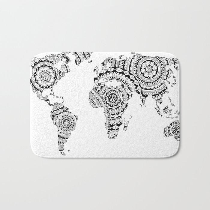Mandala World Map Badematte