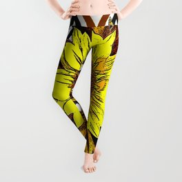 Contemporary Yellow-Brown Sunflower Design in Coffee brown, Black and White Abstract Pattern Leggings