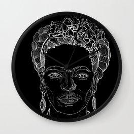 Geometric Black and White Drawing Frida Kahlo Wall Clock