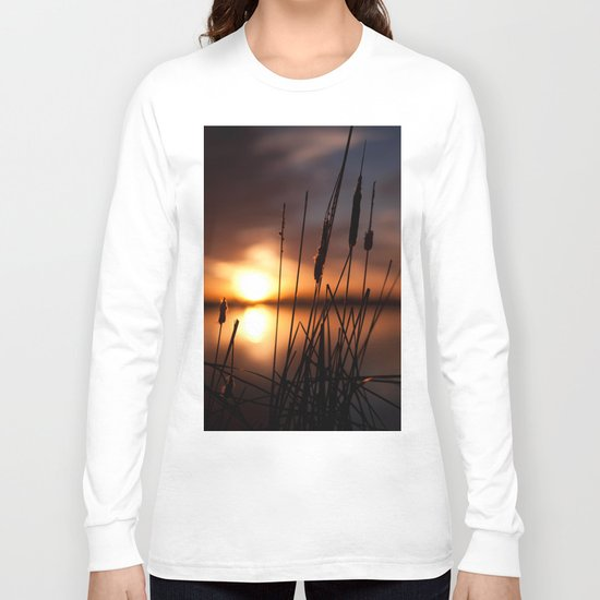 Sunset Lake and Silhouette Long Sleeve T-shirt