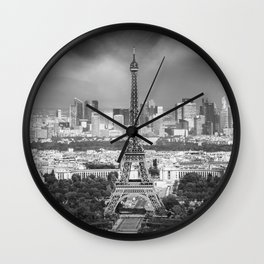 Paris Skyline | Monochrome Panorama Wall Clock