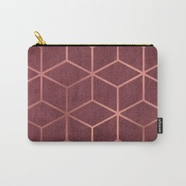 Pink and Rose Gold - Geometric Textured Gradient Cube Design Carry-All Pouch