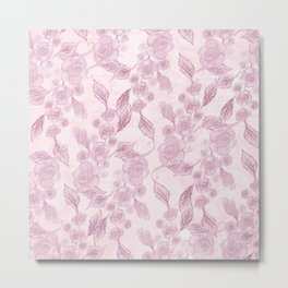Drawing pink pastel roses Metal Print