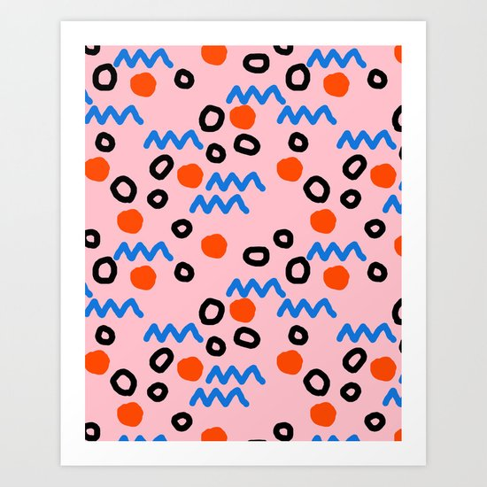 Bro - abstract retro pattern squiggle dot lines grid pink red children 1980s 80s throwback pop art Art Print