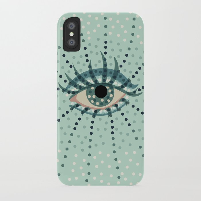 Dots And Abstract Eye iPhone Case