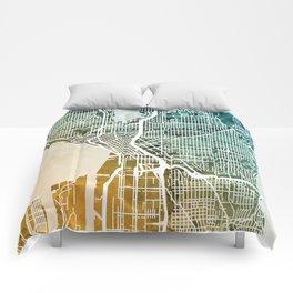 Seattle Washington Street Map Comforters