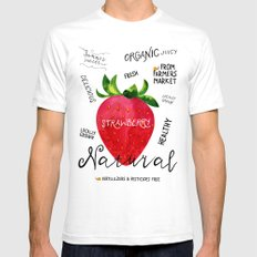 Watercolor strawberry Mens Fitted Tee White SMALL