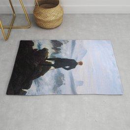 "Caspar David Friedrich ""Wanderer above the sea of fog"" Rug"