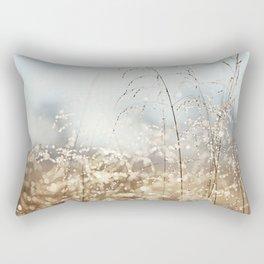 Gold Blue Sparkle Nature Photography, Dew Drop Grass Brown, Morning Water Dewdrops, Magical Bokeh Rectangular Pillow