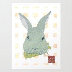 Bunny, Rabbit, Gray, Modern Art Print