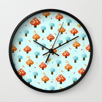 mushroom Wall Clocks featuring Mushroom by Kakel