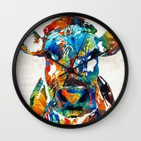 nba Wall Clocks featuring Colorful Cow Art - Mootown - By Sharon Cummings by Sharon Cummings