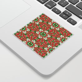 Red, Green and White Kaleidoscope 3376 Sticker