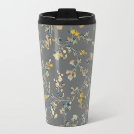 vintage floral vines - greys & mustard Travel Mug