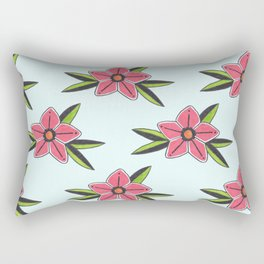 Old school tattoo flower pattern in blue Rectangular Pillow