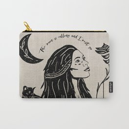 """""""The moon is calling and I must go"""" boho quote portrait illustration Carry-All Pouch"""