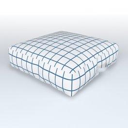 Minimalism Window Pane Grid, Blue on White Outdoor Floor Cushion