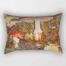 Forest scene with mushrooms in Fall Rectangular Pillow