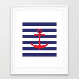 AFE Nautical Red Ship Anchor Framed Art Print