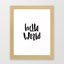 Hello World - Hand Lettering Framed Art Print