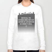 lotr Long Sleeve T-shirts featuring LOTR - Devin's Shirt by TracingHorses