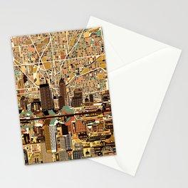 indianapolis city skyline orange Stationery Cards