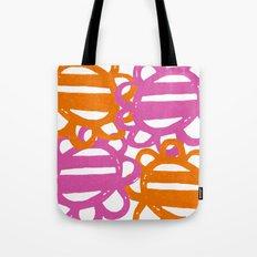 Fun Flowers Large pink orange Tote Bag
