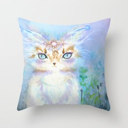 Lavadrille Cat : Guardian of the Mind Throw Pillow