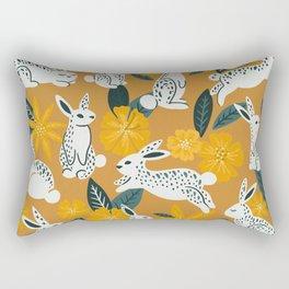 Bunnies & Blooms - Ochre & Teal Palette Rectangular Pillow