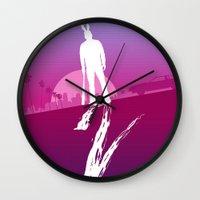 hotline miami Wall Clocks featuring Enjoy The Violence - Hotline Miami 2 Minimalist Poster by Marco Mottura - Mdk7