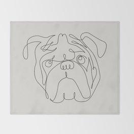 One Line English Bulldog Throw Blanket