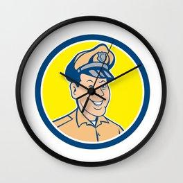 Policeman Winking Smiling Circle Cartoon Wall Clock