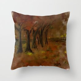 The Trees Beside the Lake Throw Pillow