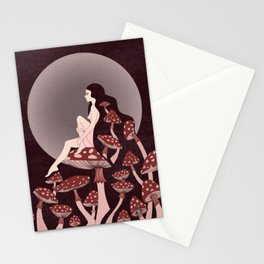 Mushroom Queen, 70s, 60s, 1920s, art nouveau inspired art Stationery Cards