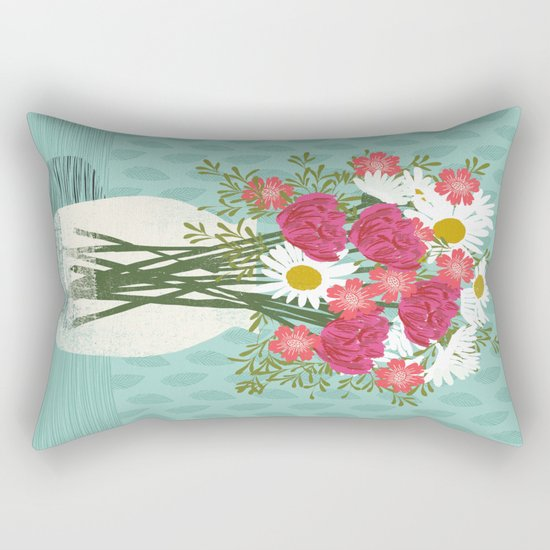 Vase of Daisies floral flowers spring summer mother's day illustration Andrea Lauren Rectangular Pillow