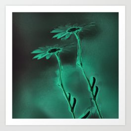 two green daisies Art Print