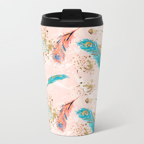 Feather peacock peach mint #5 Metal Travel Mug
