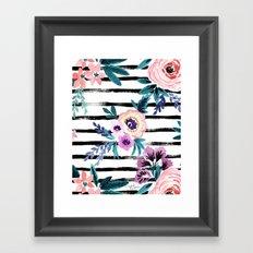 Victoria Floral Stripe Framed Art Print