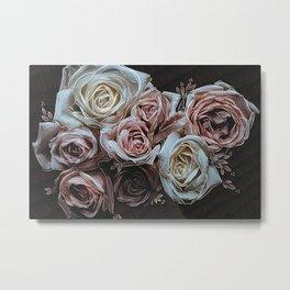 Roses on Black Metal Print