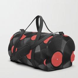 Vinyl Records Pattern (Red) Duffle Bag