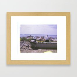 Old Man and his Bicycle Framed Art Print
