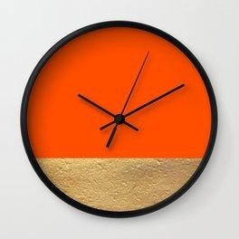 Color Blocked Gold & Poppy Wall Clock