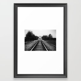 black and white rail train sunset  Framed Art Print