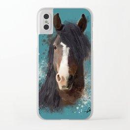 Black Brown Horse Artwork Clear iPhone Case
