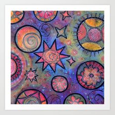 Celestial Stars - Sending Love and Healing Light  Art Print