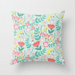 Flower Lovers - Green Throw Pillow