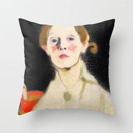 12,000pixel-500dpi - Self Portrait with Black Background - Helene Sofia Schjerfbeck Throw Pillow